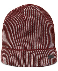 BOSS Men's Ebalerio Knitted Two-Tone Virgin Wool Beanie Hat