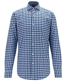 BOSS Men's Jason Slim-Fit Spread-Collar Gingham Cotton Shirt