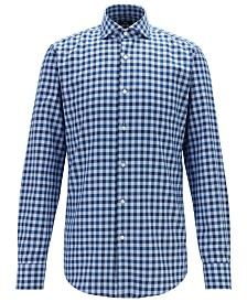 BOSS Men's Jason Slim-Fit Spread-Collar Gingham Cotton Shirt