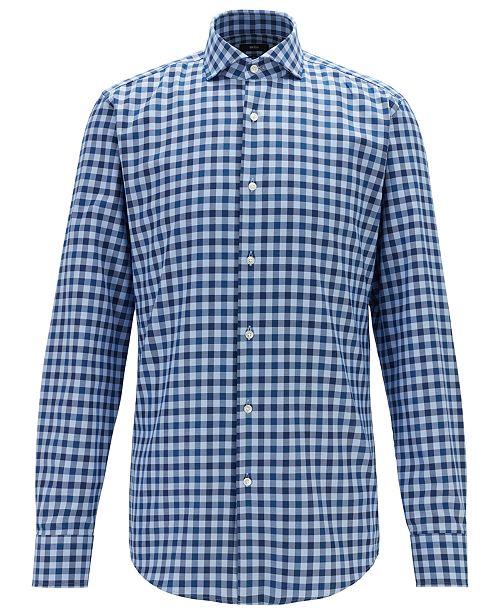 Hugo Boss BOSS Men's Jason Slim-Fit Spread-Collar Gingham Cotton Shirt