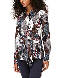 Printed Button-Front Tie-Waist Top