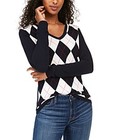 Colorblocked Argyle Sweater