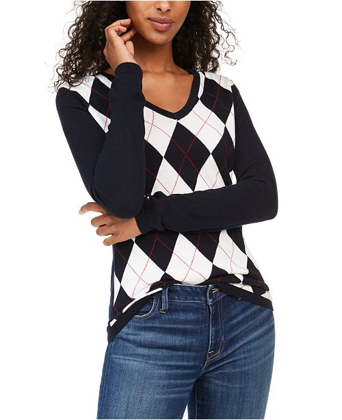 Tommy Hilfiger Colorblocked Argyle Sweater