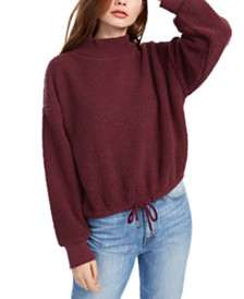 Hippie Rose Juniors' Mock-Neck Sherpa Pullover