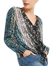 INC Printed Tie-Front Blouse, Created for Macy's