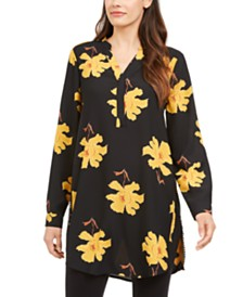 Alfani Printed Roll-Tab-Sleeve Tunic Top, Created for Macy's