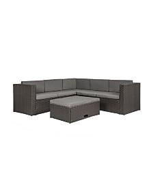 Westin Furniture 6-Piece Modern Sectional Set with Storage Ottoman