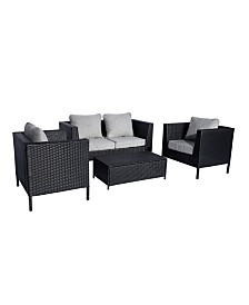 Westin Furniture 4-Piece Modern Contemporary Sofa Set with Cushions