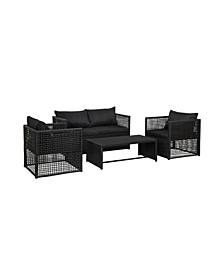 4-Piece Woven Rattan Wicker Sofa Set with Cushion