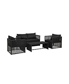 Westin Furniture 4-Piece Woven Rattan Wicker Sofa Set with Cushion