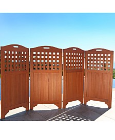 VIFAH Malibu Outdoor Wood Privacy Screen with 4 Panel