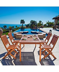 Malibu Outdoor 5-Piece Wood Patio Dining Set with Folding Chairs