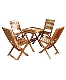 Malibu 5-Piece Wood Outdoor Patio Bistro Set