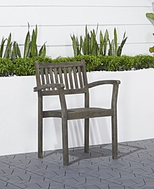 Renaissance Outdoor Patio Hand-Scraped Wood Stacking Armchair Set of 2