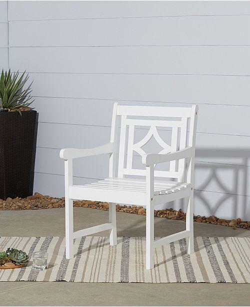VIFAH Bradley Outdoor Patio Diamond Dining Armchair