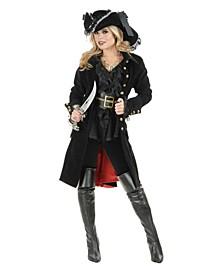 Women's Pirate Vixen Coat Black Adult Costume