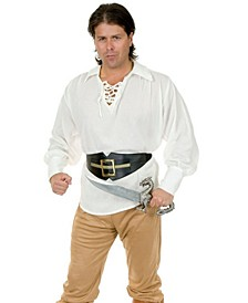 Pirate White Adult Gauze Shirt, Toy Sword Not Included