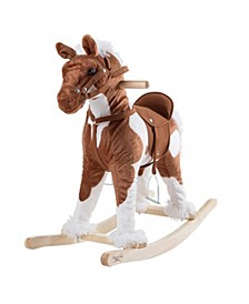 Rocking Horse Plush Animal on Wooden Rockers