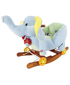 Rocking Horse Plush Animal Elephant 2-in-1 Wooden Rockers Wheels