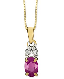 "Certified Ruby (5/8 ct. t.w.) & Diamond Accent 18"" Pendant Necklace in 14k Gold"