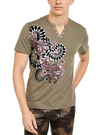 INC Men's Split-Neck Garden Snake T-Shirt, Created For Macy's