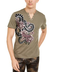 I.N.C. Men's Split-Neck Garden Snake T-Shirt, Created For Macy's