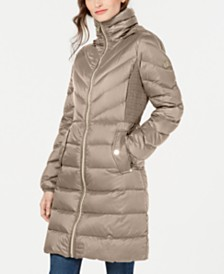 Michael Michael Kors Petite Down Hooded Puffer Coat, Created For Macy's