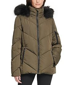 DKNY Petite Hooded Faux-Fur-Trim Puffer Coat