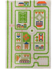 """Traffic 3D Childrens Play Mat & Rug in A Colorful Town Design with Soccer Field, Car Park&Roads, 59""""L x 39""""W"""