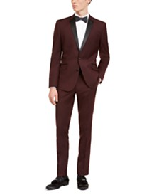 Billy London Men's Slim-Fit Performance Stretch Burgundy Tuxedo