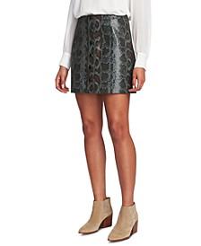 Faux-Leather Snake-Print Mini Skirt