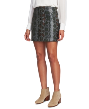 1.state Faux-Leather Snake-Print Mini Skirt