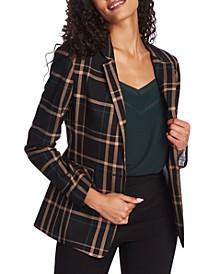 One-Button Plaid Jacket