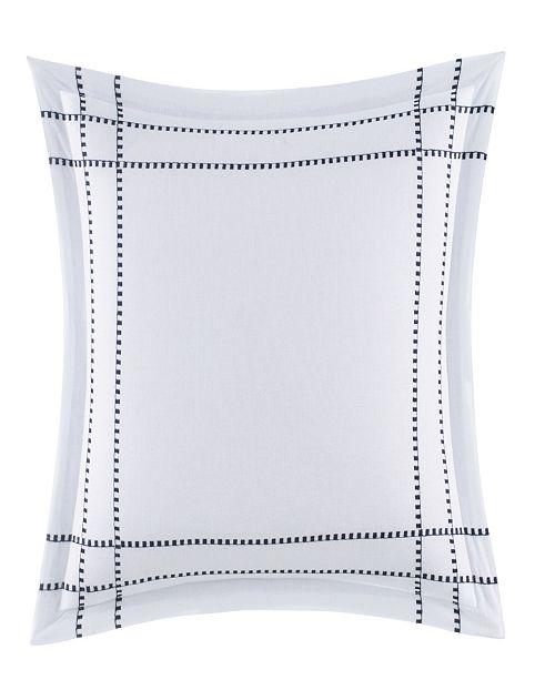 "Nautica Candler Embroidered Plaid 16"" Square Decorative Pillow"