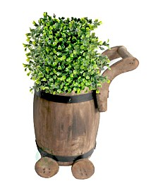 Gardenised Small Barrel Planter Cart