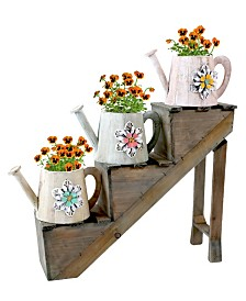 Gardenised Antique Style Wooden Flower Planter with 3 Watering Cans on Stairs