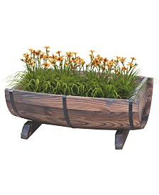 Gardenised Half Barrel Adjustable Deck Railing Planter