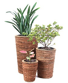 Vintiquewise Wicker Banana Rope Tall Floor Planter with Metal Pot, Set of 3
