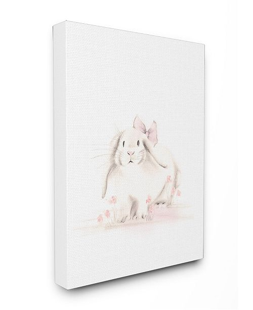 """Stupell Industries Baby Bunny with Pink Bow Canvas Wall Art, 16"""" x 20"""""""