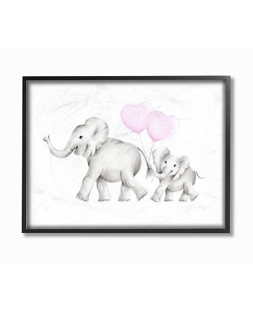 """Stupell Industries Mama and Baby Elephants Framed Giclee Art, 16"""" x 20"""""""