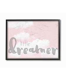 """Little Dreamer Typography Pink Clouds Framed Giclee Art, 11"""" x 14"""""""