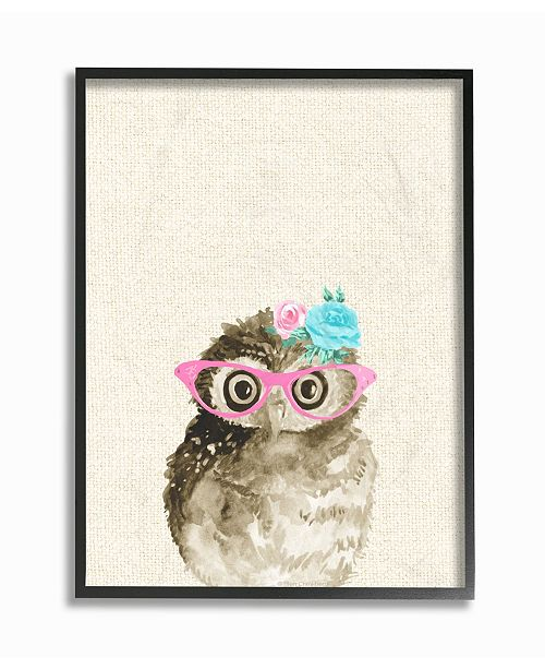 "Stupell Industries Woodland Owl with Cat Eye Glasses Framed Giclee Art, 16"" x 20"""