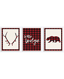 "Little Lodge Antler Bear Plaid 3 Piece Wall Plaque Art Set, 10"" x 15"""