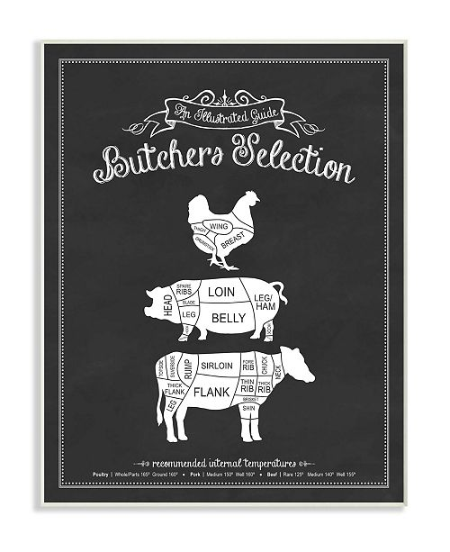 "Stupell Industries Butcher's Selection Poultry Pork Beef Wall Plaque Art, 10"" x 15"""