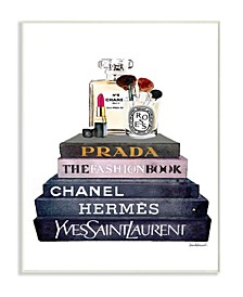 """Glam Fashion Book Stack Gray Bow Pump Heels Ink Wall Plaque Art, 12.5"""" x 18.5"""""""