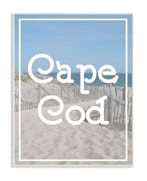 "Stupell Industries Cape Cod Beach Typography Vintage-Inspired Wall Plaque Art, 12.5"" x 18.5"""