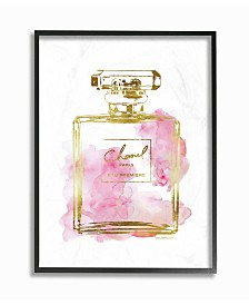 "Stupell Industries Glam Perfume Bottle Gold Pink Framed Giclee Art, 11"" x 14"""