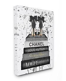 """Stupell Industries Glam Fashion Book Stack Gray Bow Pump Heels Ink Canvas Wall Art, 24"""" x 30"""""""