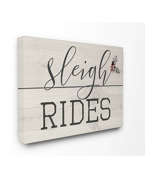 "Stupell Industries Sleigh Rides Vintage-Inspired Christman Sign Canvas Wall Art, 24"" x 30"""