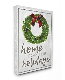 "Stupell Industries Home for the Holidays Wreath Bow Christmas Canvas Wall Art, 24"" x 30"""